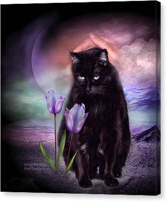 Loving My Kitty Canvas Print by Carol Cavalaris