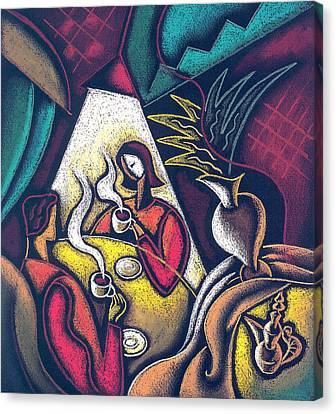 Canvas Print featuring the painting Loving Relationship by Leon Zernitsky