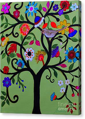 Canvas Print featuring the painting Loving Tree Of Life by Pristine Cartera Turkus