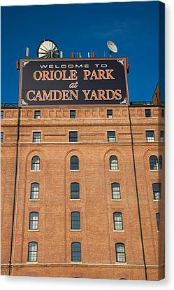 Low Angle View Of A Baseball Park Canvas Print