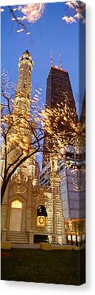 Low Angle View Of An Illumined Tower Canvas Print