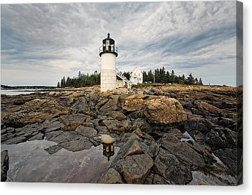 Low Angle View Of The Marshall Point Lighthouse Maine Canvas Print by George Oze