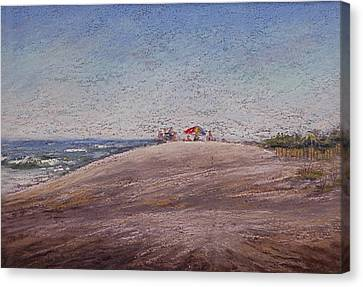 Low Tide At The Beach Canvas Print by Deb Spinella