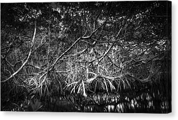 Low Tide Bw Canvas Print by Marvin Spates