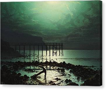 Low Tide By Moonlight Canvas Print by WHJ Boot