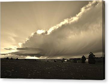 Canvas Print featuring the photograph Low-topped Supercell Black And White  by Ed Sweeney