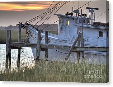 Lowcountry Shrimp Boat Sunset Canvas Print by Dustin K Ryan