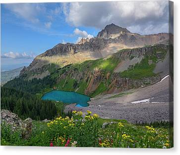 Canvas Print featuring the photograph Lower Blue Lake And Mt. Sneffels by Aaron Spong