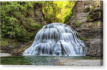 Finger Lakes Canvas Print - Lower Falls At Treman State Park by Stephen Stookey