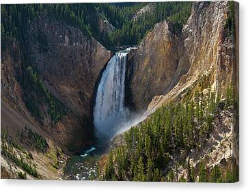 Canvas Print featuring the photograph Lower Falls Of Yellowstone River by Roger Mullenhour