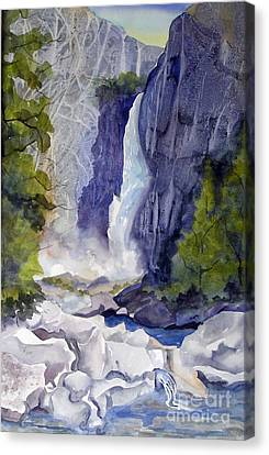 Canvas Print featuring the painting Lower Falls by Pat Crowther