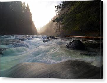 Lower Lewis River Falls During Sunset Canvas Print by David Gn