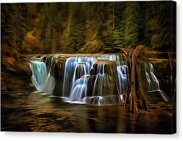 Lower Lewis River Falls In Autumn Canvas Print by Mark Kiver
