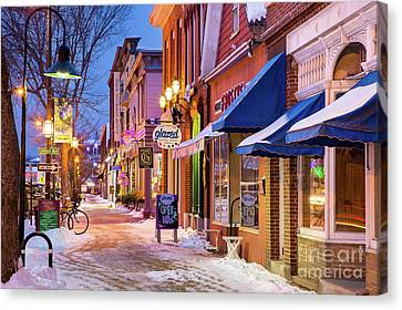 Lower Maine Street Winter Scene Canvas Print by Benjamin Williamson