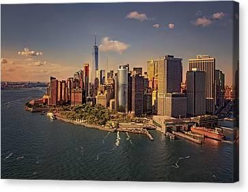 Staten Island Ferry Canvas Print - Lower Manhattan Aerial View by Susan Candelario