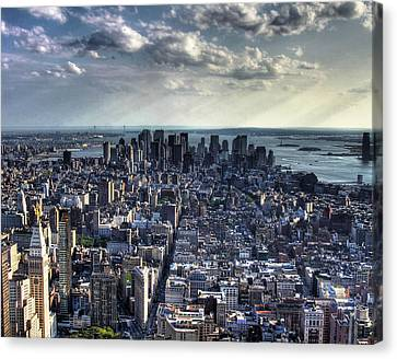 Lower Manhattan From Empire State Building Canvas Print by Joe Paniccia