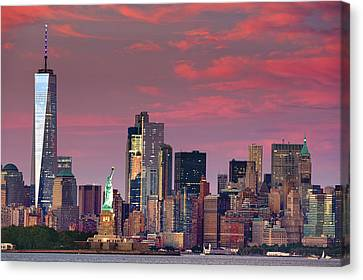 Canvas Print featuring the photograph Lower Manhattan In Pink by Emmanuel Panagiotakis