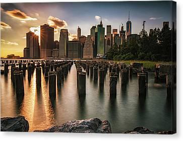 Lower Manhattan Sunset Twinkle Canvas Print