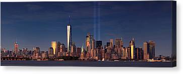 Canvas Print featuring the photograph Lower Manhattantribute In Light by Emmanuel Panagiotakis
