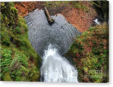 Canvas Print featuring the photograph Lower Multnomah Falls From Benson Bridge - Columbia Gorge by Gary Whitton