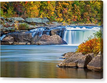 Autumn Leaf Canvas Print - Lower Ohiopyle Falls by Jennifer Grover