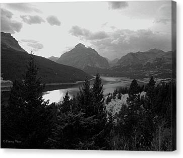 Lower Two Medicine Lake In Black And White Canvas Print