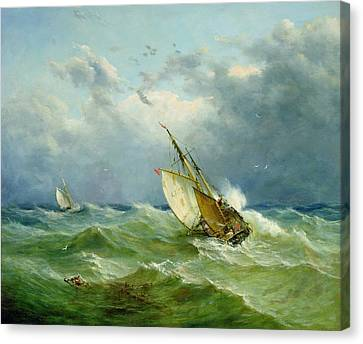 Danger Canvas Print - Lowestoft Trawler In Rough Weather by John Moore