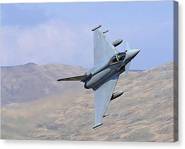 Lowflying Typhoon In The Welsh Hills 01 Canvas Print by Barry Culling