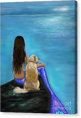 Canvas Print featuring the painting Loyal Loving Buddy by Leslie Allen