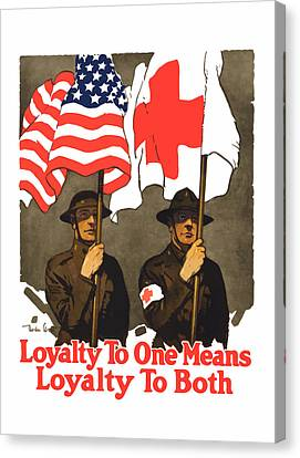 Loyalty To One Means Loyalty To Both Canvas Print by War Is Hell Store