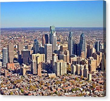 Canvas Print featuring the photograph Lrg Format Aerial Philadelphia Skyline 226 W Rittenhouse Sq 100 Philadelphia Pa 19103 5738 by Duncan Pearson