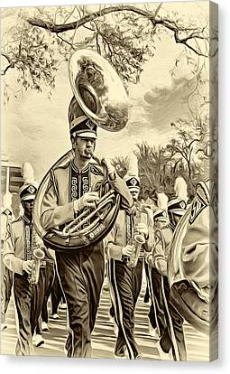 Lsu Tigers Band 6 - Sepia Canvas Print by Steve Harrington