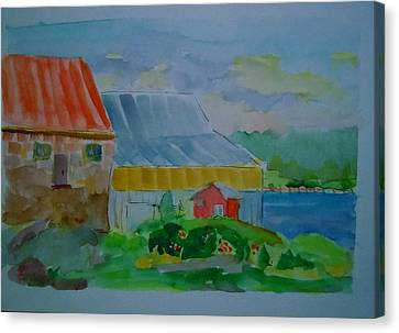 Canvas Print featuring the painting Lubec Fishery by Francine Frank