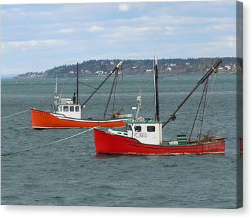 Canvas Print featuring the photograph Lubec Lobster Boats by Francine Frank