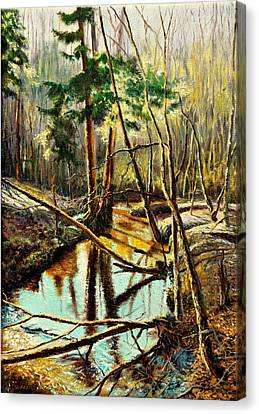 Canvas Print featuring the painting  Lubianka-1- River by Henryk Gorecki