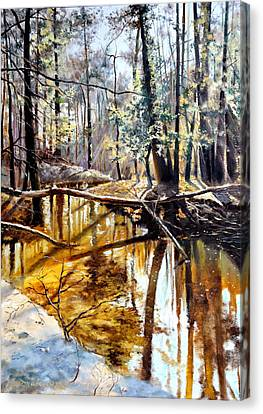 Canvas Print featuring the painting  Lubianka-2-river by Henryk Gorecki