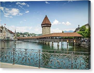 Lucerne Chapel Bridge And Water Tower Canvas Print