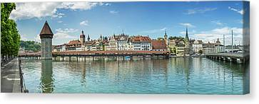Lucerne Canvas Print - Lucerne Chapel Bridge And Water Tower - Panoramic by Melanie Viola