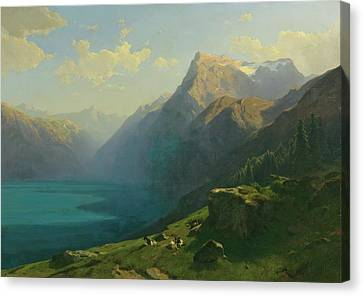Lucerne From Seelisberg Canvas Print by Alexandre Calame