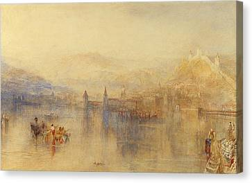 Lucerne From The Lake Canvas Print by Joseph Mallord William Turner