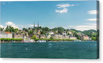 Canvas Print featuring the photograph Lucerne Panorama by Wolfgang Vogt