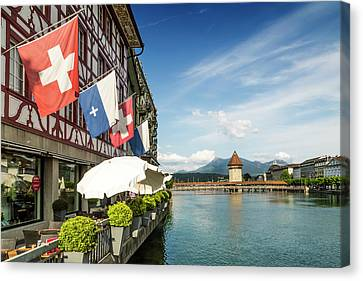 Lucerne Reuss Riverside Canvas Print by Melanie Viola