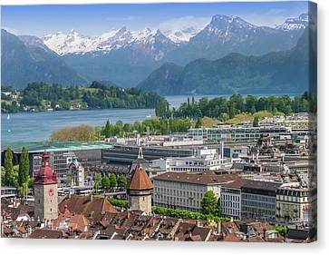 Lucerne View To Lake Lucerne Canvas Print by Melanie Viola