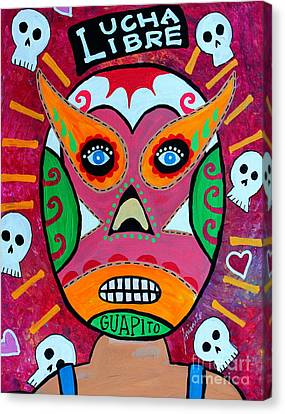 Canvas Print featuring the painting Lucha Libre by Pristine Cartera Turkus