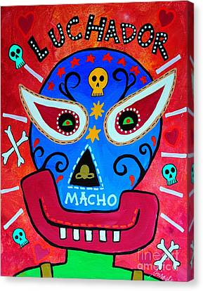 Canvas Print featuring the painting Luchador by Pristine Cartera Turkus