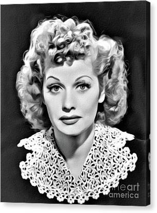 Lucille Ball, Hollywood Legend, Digital Art By Mary Bassett Canvas Print by Mary Bassett