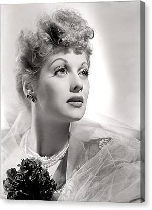 Lucille Ball Portrait With Gauze, 1940s Canvas Print by Everett
