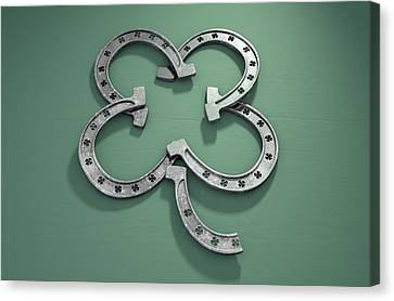 Good Fortune Canvas Print - Lucky Horseshoe Shamrock by Allan Swart