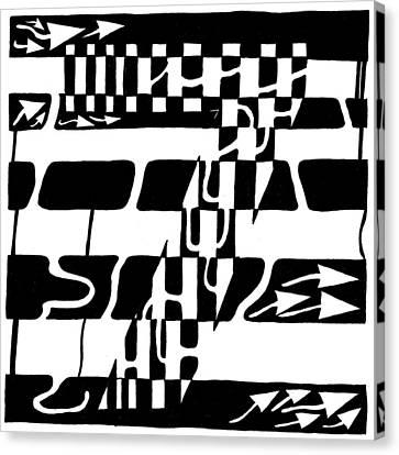 Lucky Maze Number 7 Canvas Print by Yonatan Frimer Maze Artist