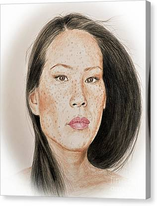 Lucy Liu Freckled Beauty Canvas Print